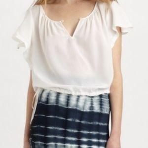 BCBGMaxAzria silk cream flutter sleeve blouse sz S